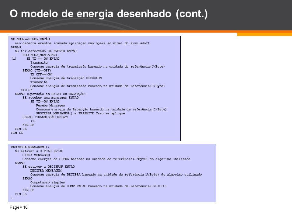 Page 16 O modelo de energia desenhado (cont.) SE NODE==SLEEP ENTÃO não detecta eventos (camada aplicação não opera ao nível do simulador) SENAO SE for