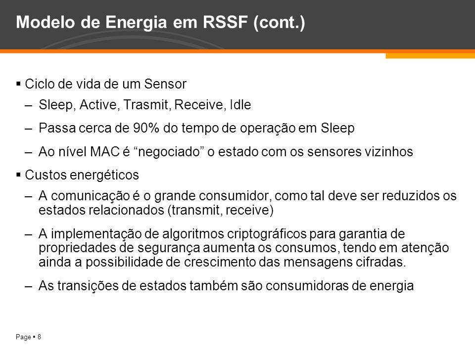 Page 8 Modelo de Energia em RSSF (cont.) Ciclo de vida de um Sensor –Sleep, Active, Trasmit, Receive, Idle –Passa cerca de 90% do tempo de operação em