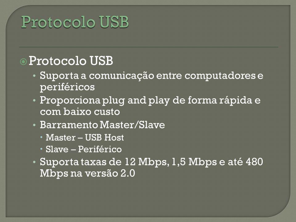 Protocolo USB Suporta a comunicação entre computadores e periféricos Proporciona plug and play de forma rápida e com baixo custo Barramento Master/Sla