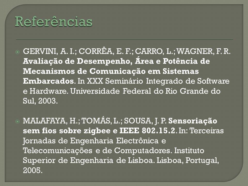 GERVINI, A. I.; CORRÊA, E. F.; CARRO, L.; WAGNER, F. R. Avaliação de Desempenho, Área e Potência de Mecanismos de Comunicação em Sistemas Embarcados.
