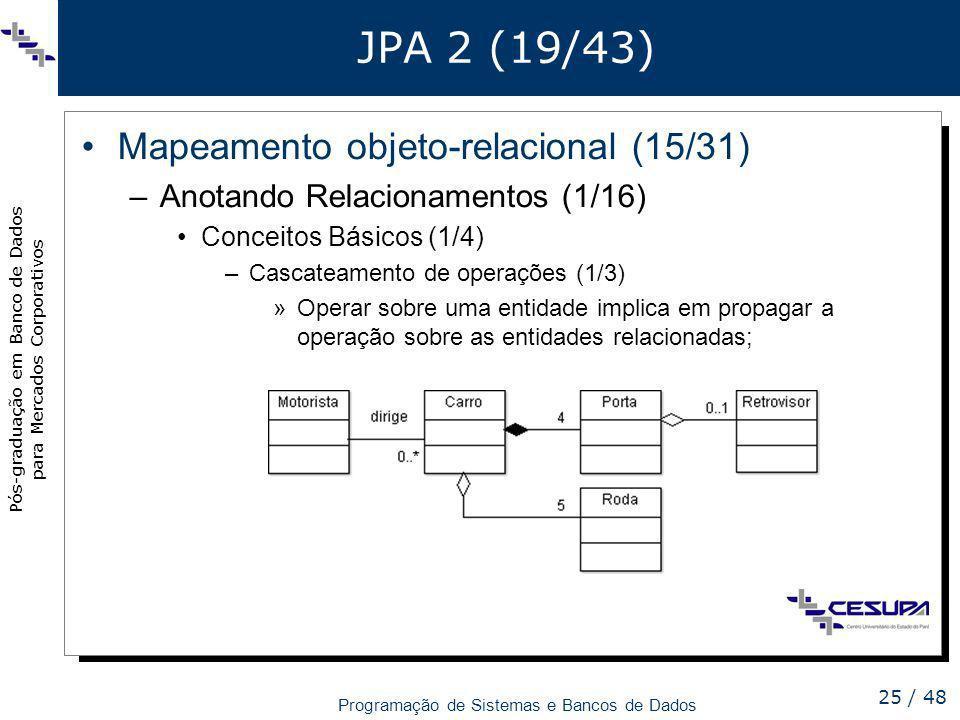Pós-graduação em Banco de Dados para Mercados Corporativos Programação de Sistemas e Bancos de Dados 25 / 48 JPA 2 (19/43) Mapeamento objeto-relaciona