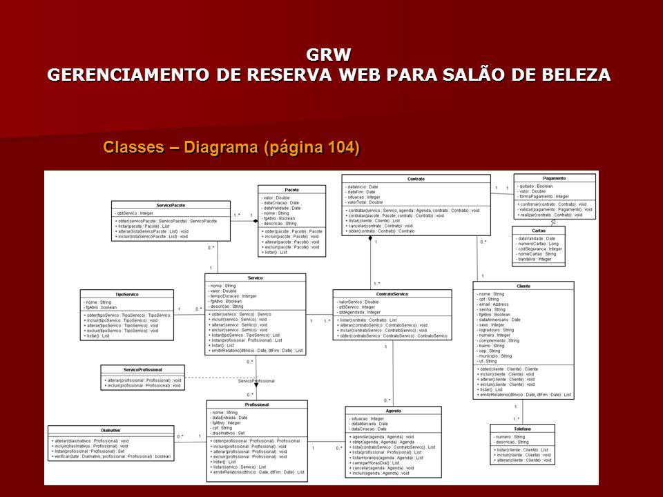 GRW GERENCIAMENTO DE RESERVA WEB PARA SALÃO DE BELEZA Classes – Diagrama (página 104)