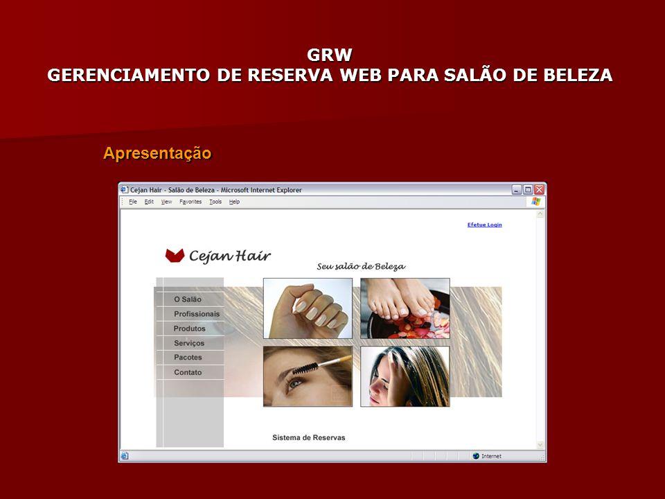 GRW GERENCIAMENTO DE RESERVA WEB PARA SALÃO DE BELEZA Apresentação