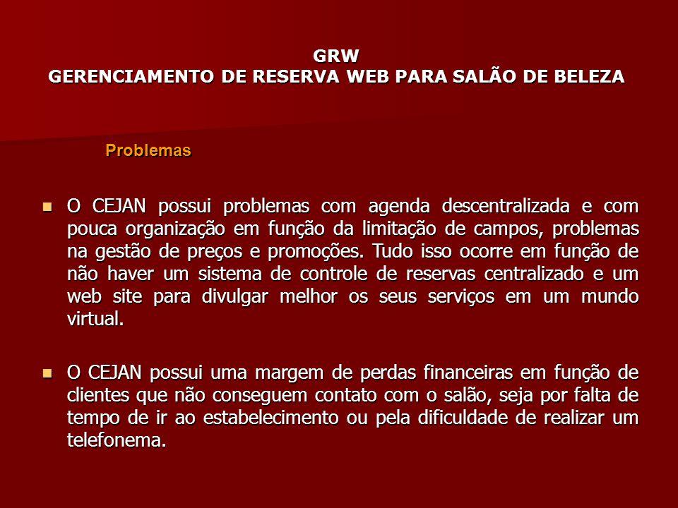 GRW GERENCIAMENTO DE RESERVA WEB PARA SALÃO DE BELEZA Problemas O CEJAN possui problemas com agenda descentralizada e com pouca organização em função