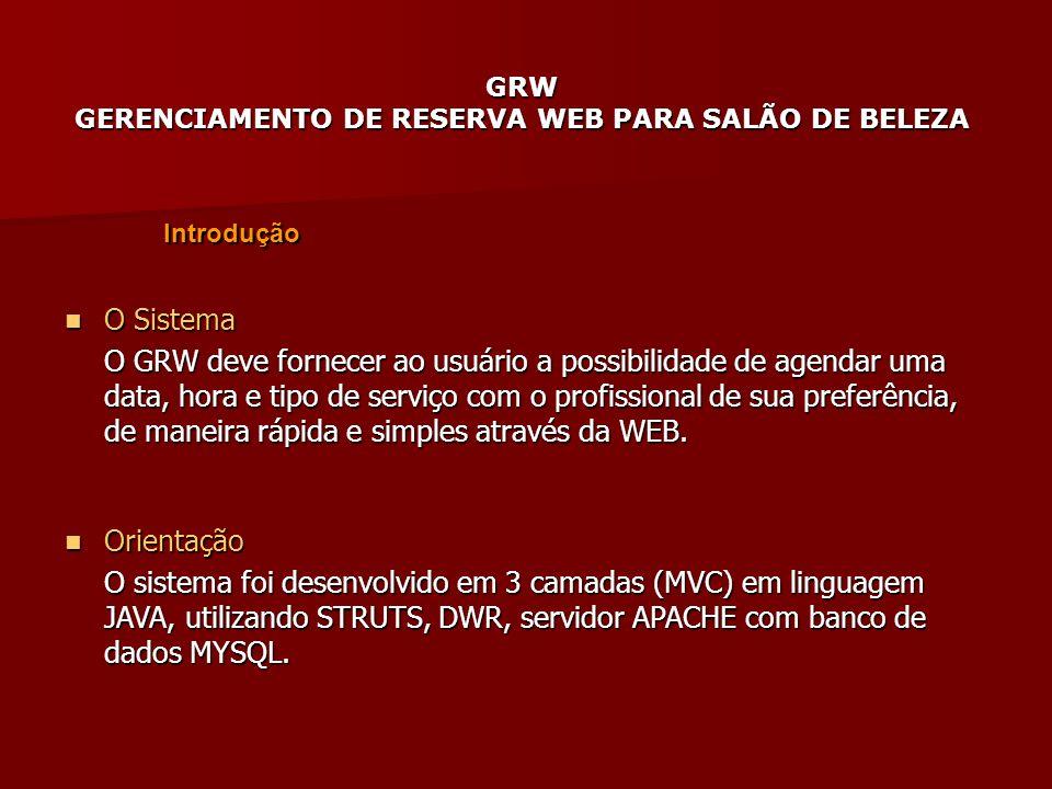 GRW GERENCIAMENTO DE RESERVA WEB PARA SALÃO DE BELEZA Introdução O Sistema O Sistema O GRW deve fornecer ao usuário a possibilidade de agendar uma dat