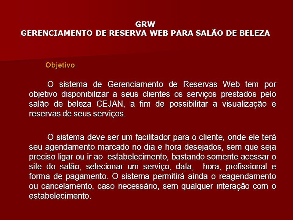 GRW GERENCIAMENTO DE RESERVA WEB PARA SALÃO DE BELEZA Objetivo O sistema de Gerenciamento de Reservas Web tem por objetivo disponibilizar a seus clien