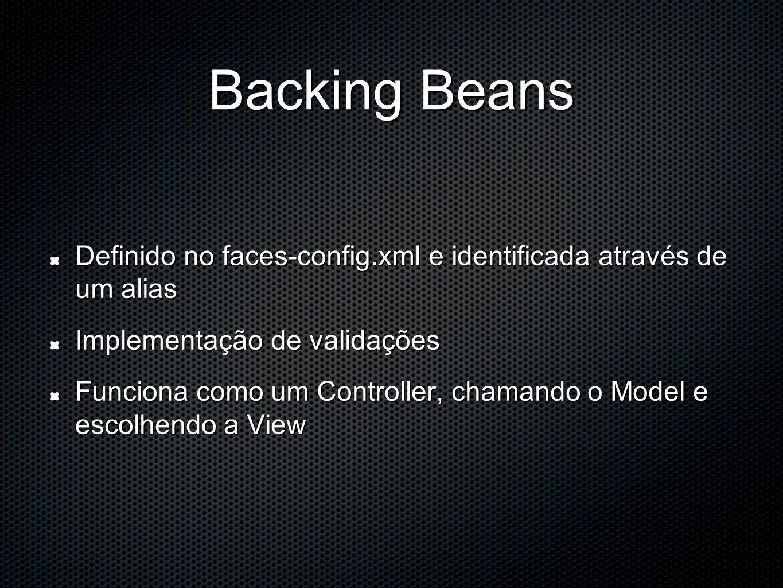 Backing Beans Definido no faces-config.xml e identificada através de um alias Implementação de validações Funciona como um Controller, chamando o Model e escolhendo a View