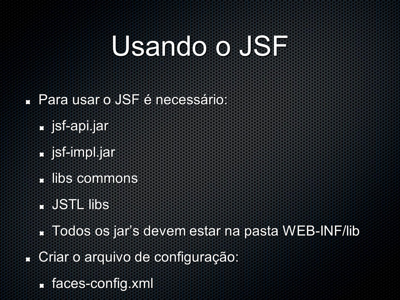 Usando o JSF Para usar o JSF é necessário: jsf-api.jarjsf-impl.jar libs commons JSTL libs Todos os jars devem estar na pasta WEB-INF/lib Criar o arquivo de configuração: faces-config.xml