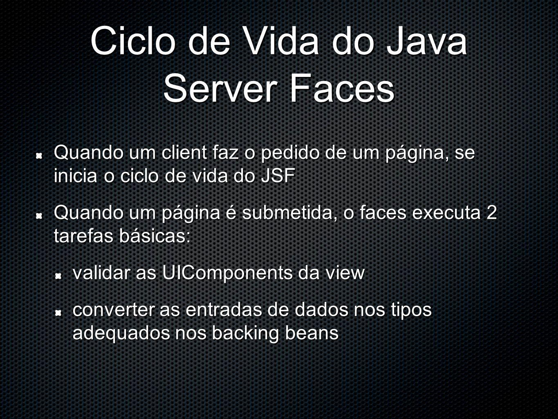 Ciclo de Vida do Java Server Faces Quando um client faz o pedido de um página, se inicia o ciclo de vida do JSF Quando um página é submetida, o faces executa 2 tarefas básicas: validar as UIComponents da view converter as entradas de dados nos tipos adequados nos backing beans