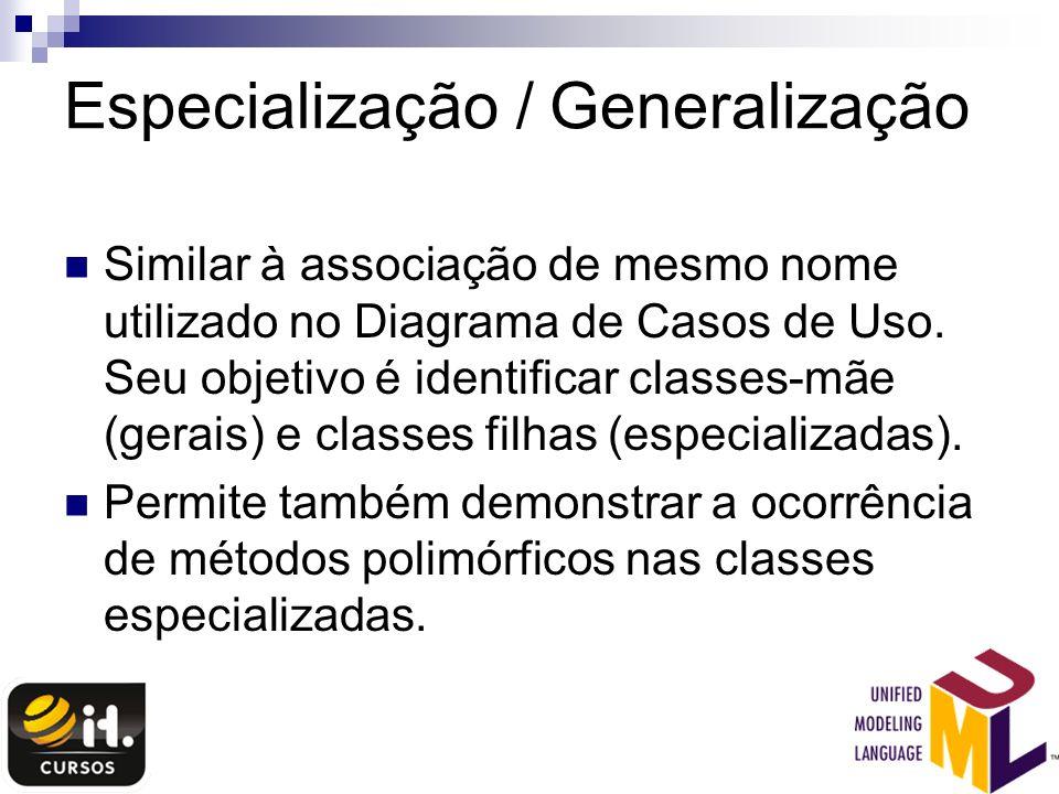 Especialização / Generalização Similar à associação de mesmo nome utilizado no Diagrama de Casos de Uso. Seu objetivo é identificar classes-mãe (gerai
