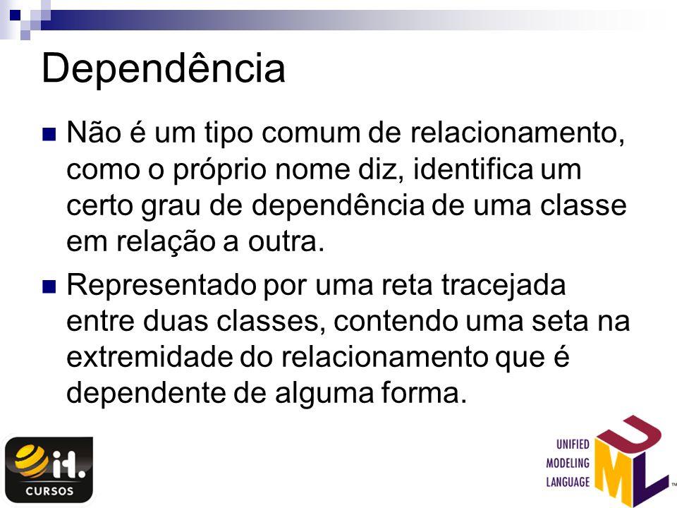 Dependência Não é um tipo comum de relacionamento, como o próprio nome diz, identifica um certo grau de dependência de uma classe em relação a outra.