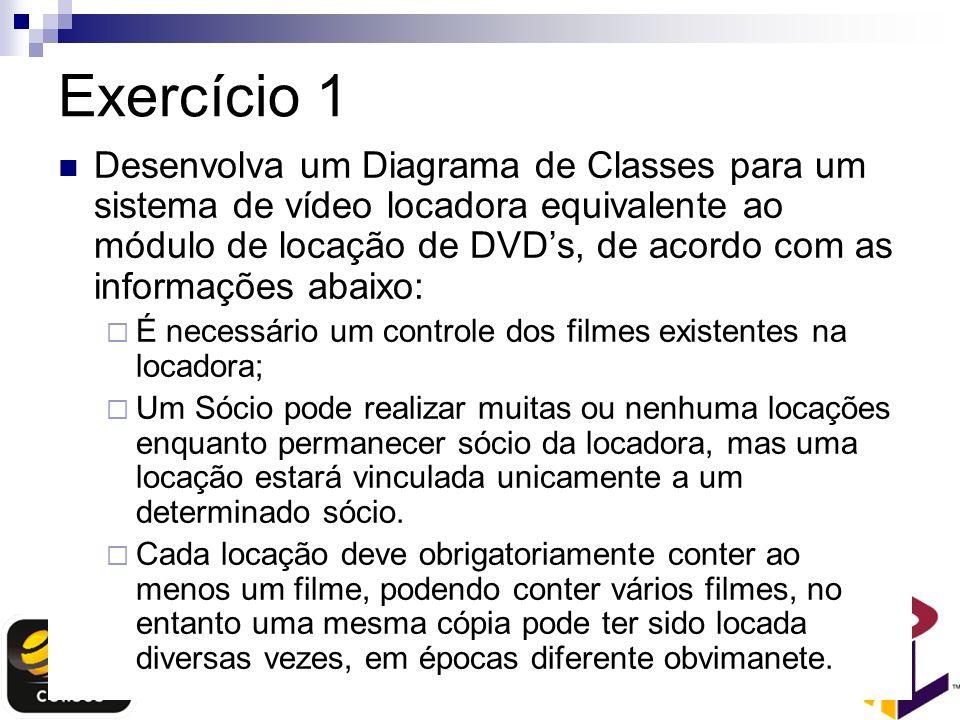 Exercício 1 Desenvolva um Diagrama de Classes para um sistema de vídeo locadora equivalente ao módulo de locação de DVDs, de acordo com as informações