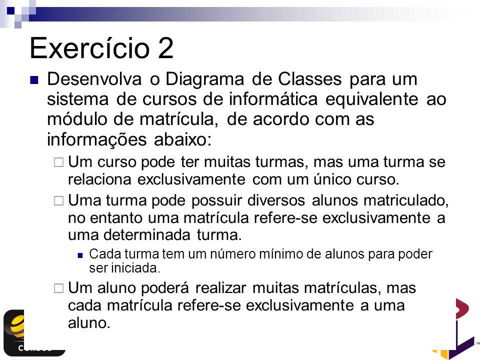 Exercício 2 Desenvolva o Diagrama de Classes para um sistema de cursos de informática equivalente ao módulo de matrícula, de acordo com as informações