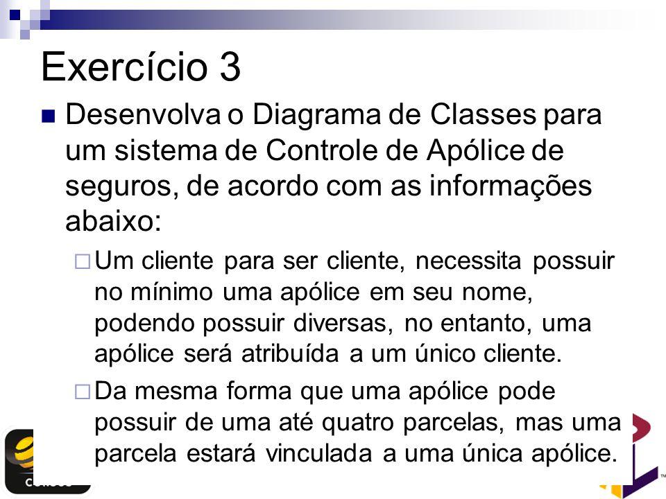 Exercício 3 Desenvolva o Diagrama de Classes para um sistema de Controle de Apólice de seguros, de acordo com as informações abaixo: Um cliente para s