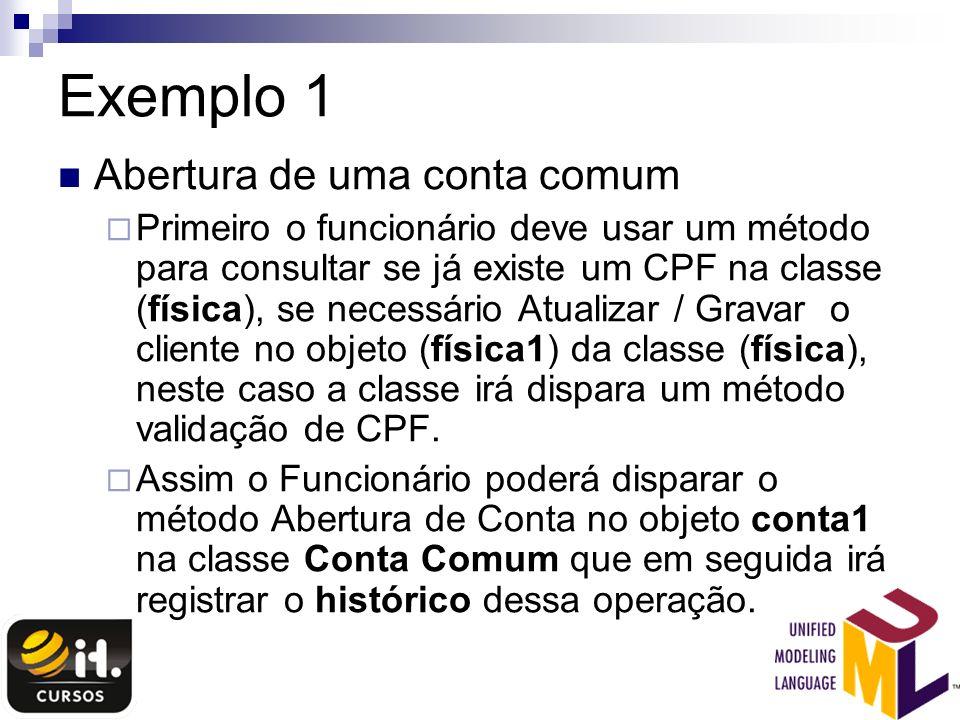 Exemplo 1 Abertura de uma conta comum Primeiro o funcionário deve usar um método para consultar se já existe um CPF na classe (física), se necessário