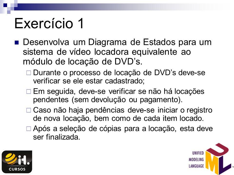 Exercício 1 Desenvolva um Diagrama de Estados para um sistema de vídeo locadora equivalente ao módulo de locação de DVDs. Durante o processo de locaçã