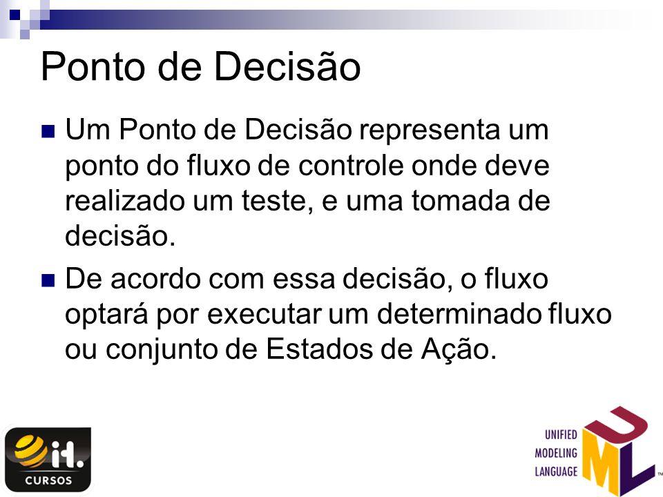 Ponto de Decisão Um Ponto de Decisão representa um ponto do fluxo de controle onde deve realizado um teste, e uma tomada de decisão. De acordo com ess