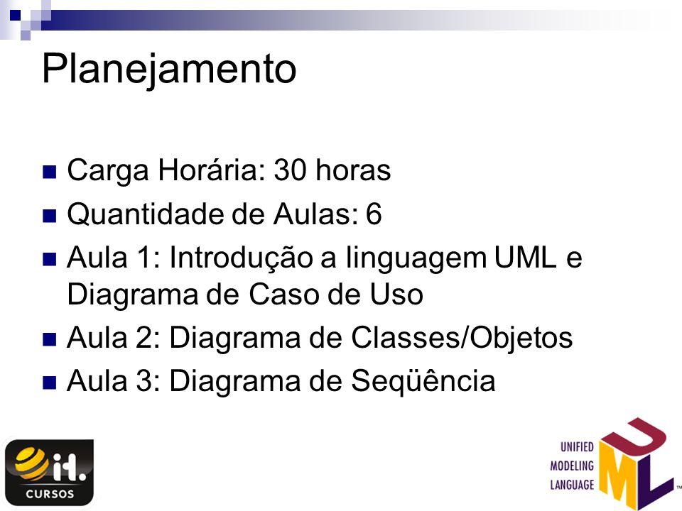 Planejamento Carga Horária: 30 horas Quantidade de Aulas: 6 Aula 1: Introdução a linguagem UML e Diagrama de Caso de Uso Aula 2: Diagrama de Classes/O