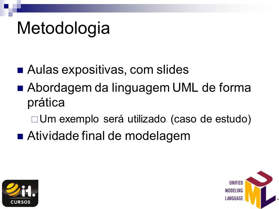 Metodologia Aulas expositivas, com slides Abordagem da linguagem UML de forma prática Um exemplo será utilizado (caso de estudo) Atividade final de mo