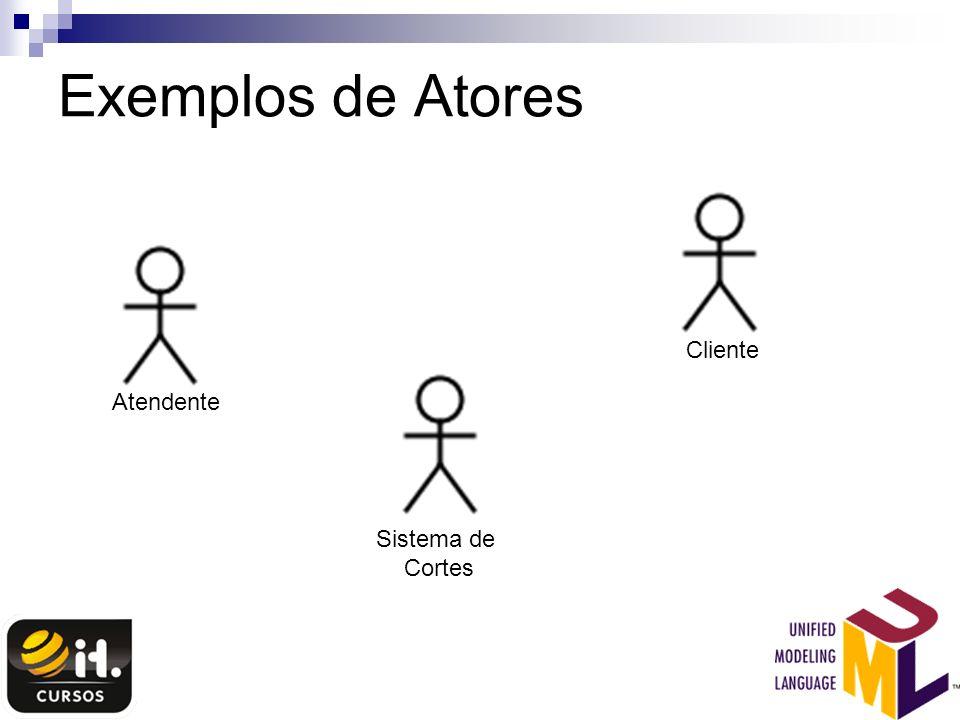 Exemplos de Atores Atendente Cliente Sistema de Cortes