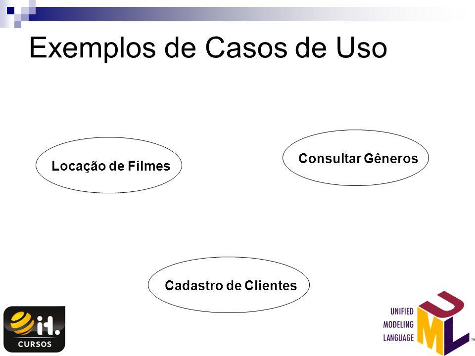 Exemplos de Casos de Uso Locação de FilmesCadastro de ClientesConsultar Gêneros