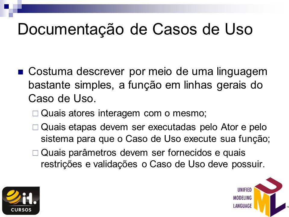 Documentação de Casos de Uso Costuma descrever por meio de uma linguagem bastante simples, a função em linhas gerais do Caso de Uso. Quais atores inte