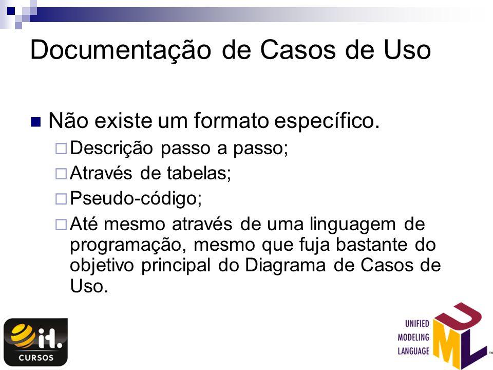 Documentação de Casos de Uso Não existe um formato específico. Descrição passo a passo; Através de tabelas; Pseudo-código; Até mesmo através de uma li