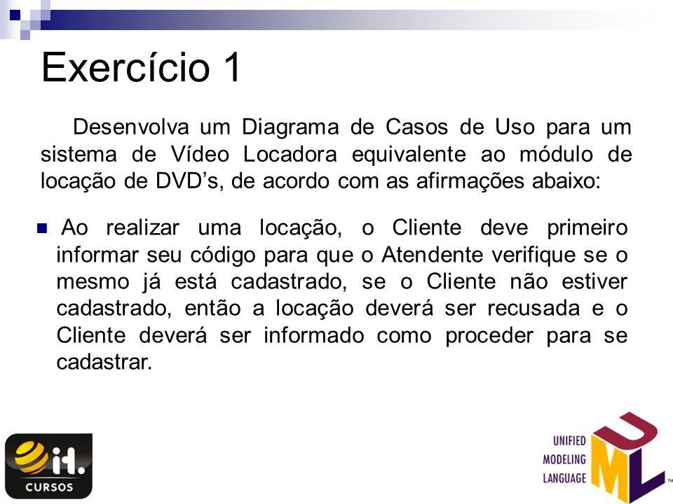 Exercício 1 Desenvolva um Diagrama de Casos de Uso para um sistema de Vídeo Locadora equivalente ao módulo de locação de DVDs, de acordo com as afirma