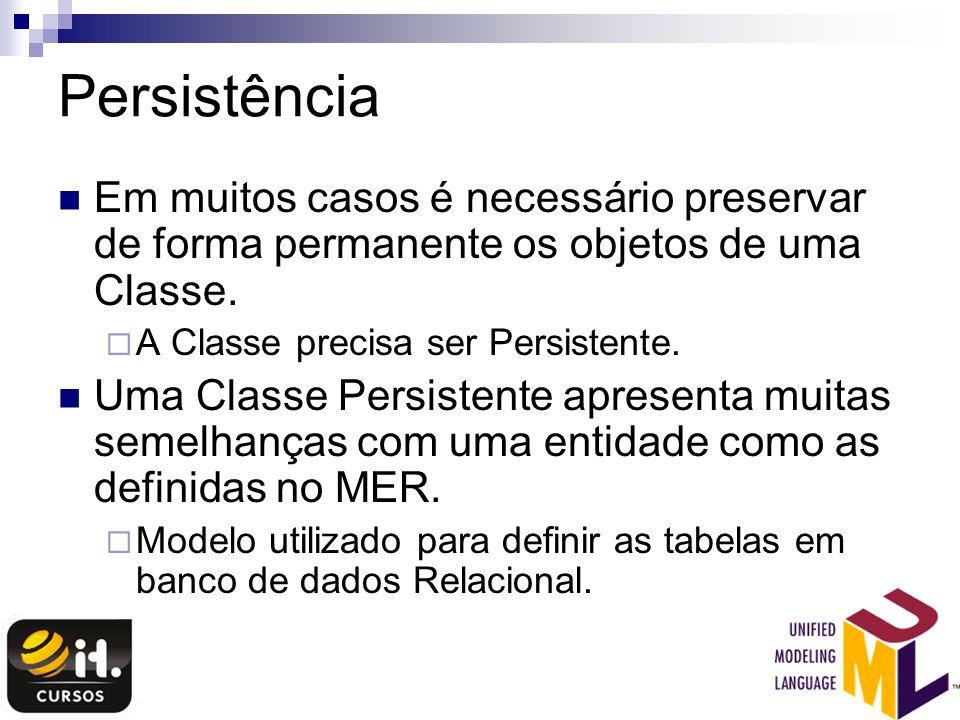 Persistência Em muitos casos é necessário preservar de forma permanente os objetos de uma Classe. A Classe precisa ser Persistente. Uma Classe Persist