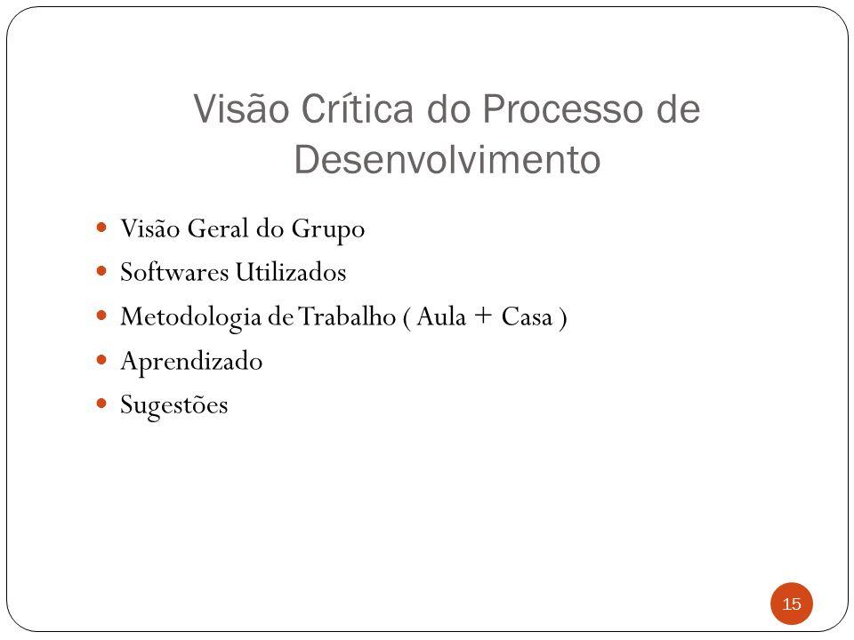 Visão Crítica do Processo de Desenvolvimento 15 Visão Geral do Grupo Softwares Utilizados Metodologia de Trabalho ( Aula + Casa ) Aprendizado Sugestõe