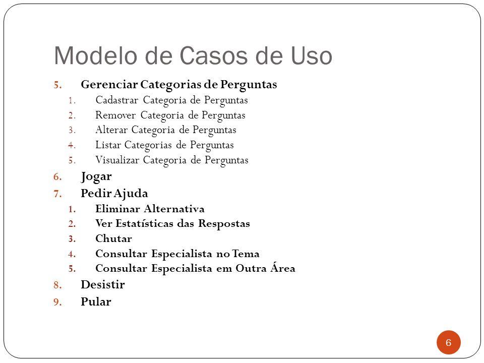 Modelo de Casos de Uso 5. Gerenciar Categorias de Perguntas 1. Cadastrar Categoria de Perguntas 2. Remover Categoria de Perguntas 3. Alterar Categoria