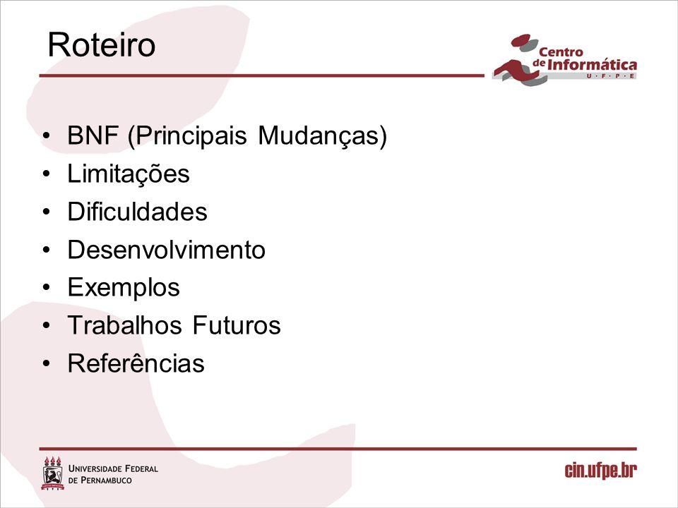 Roteiro BNF (Principais Mudanças) Limitações Dificuldades Desenvolvimento Exemplos Trabalhos Futuros Referências
