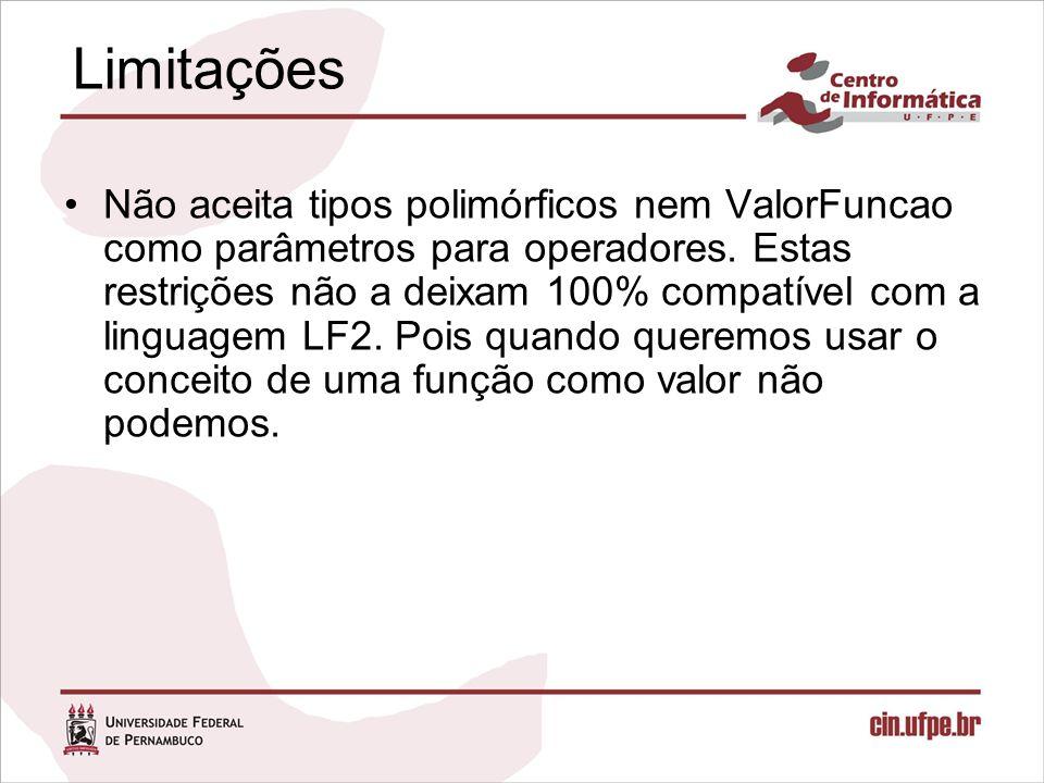 Limitações Não aceita tipos polimórficos nem ValorFuncao como parâmetros para operadores.