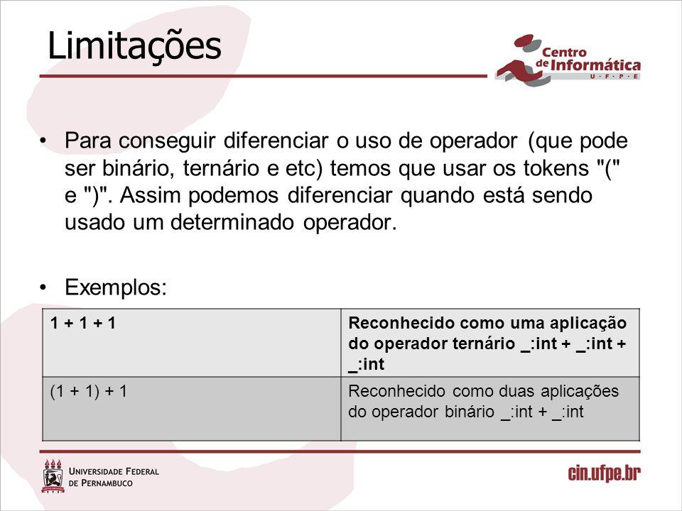 Limitações Para conseguir diferenciar o uso de operador (que pode ser binário, ternário e etc) temos que usar os tokens ( e ) .
