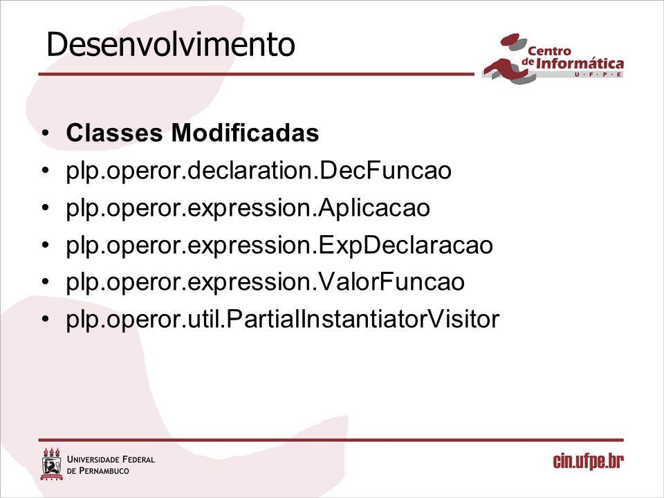 Desenvolvimento Classes Criadas –plp.operor.expression.ValorOperador –plp.operor.expression.Operacao –plp.operor.expression.IdOperador –plp.operor.expression.IdFuncaoVariavel –plp.operor.expression.Aplicacao –plp.operor.declaration.DecOperador –plp.operor.util.ListIdOperador –plp.operor.util.TipoOperador