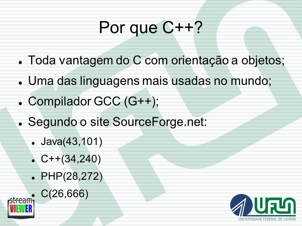 Por que C++? Toda vantagem do C com orientação a objetos; Uma das linguagens mais usadas no mundo; Compilador GCC (G++); Segundo o site SourceForge.ne
