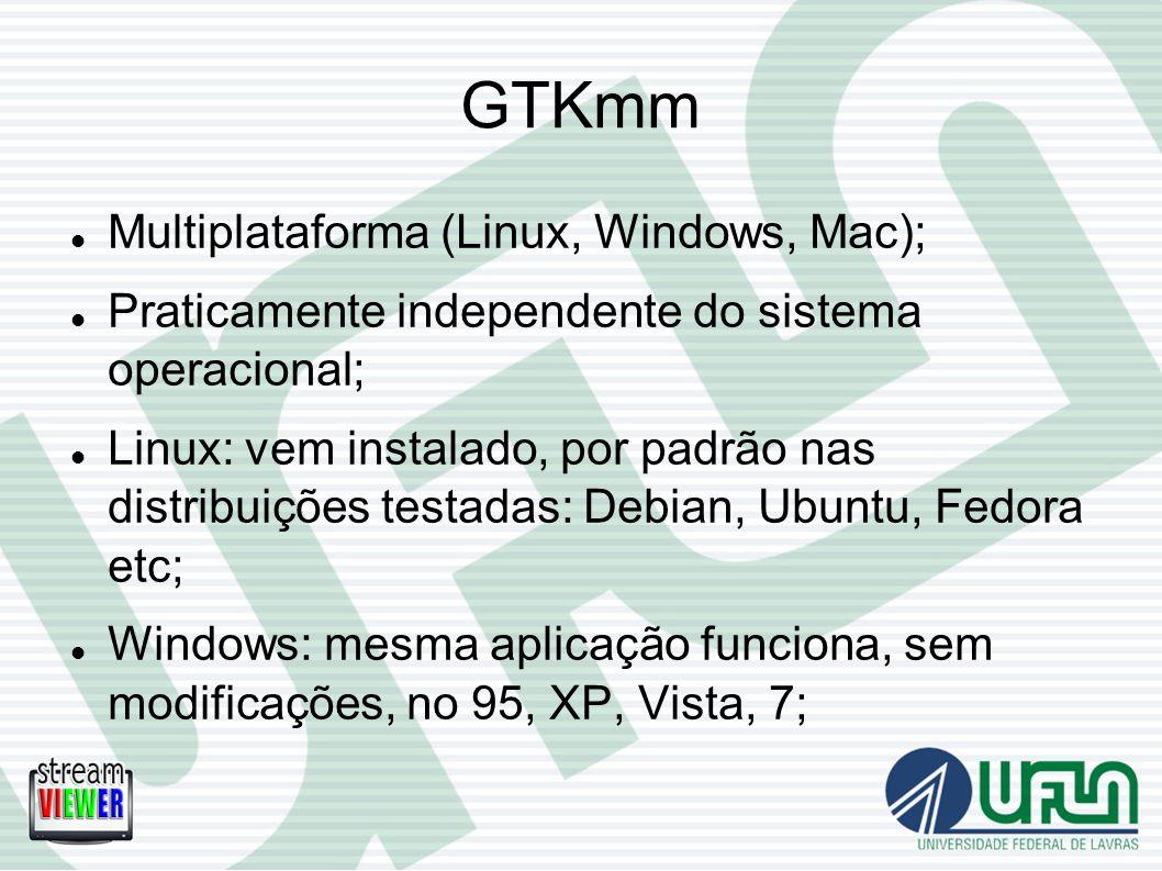 GTKmm Multiplataforma (Linux, Windows, Mac); Praticamente independente do sistema operacional; Linux: vem instalado, por padrão nas distribuições test