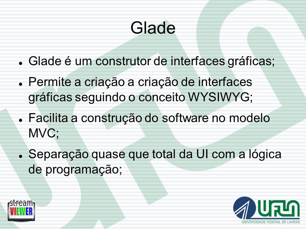 Glade Glade é um construtor de interfaces gráficas; Permite a criação a criação de interfaces gráficas seguindo o conceito WYSIWYG; Facilita a constru
