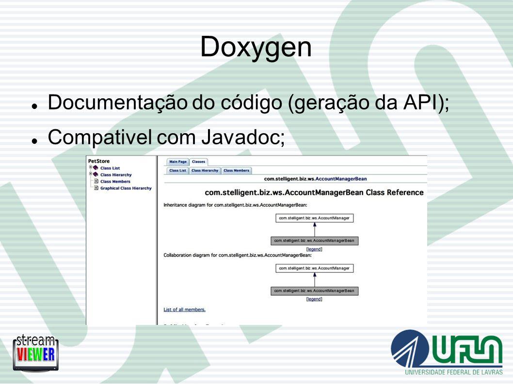 Doxygen Documentação do código (geração da API); Compativel com Javadoc;