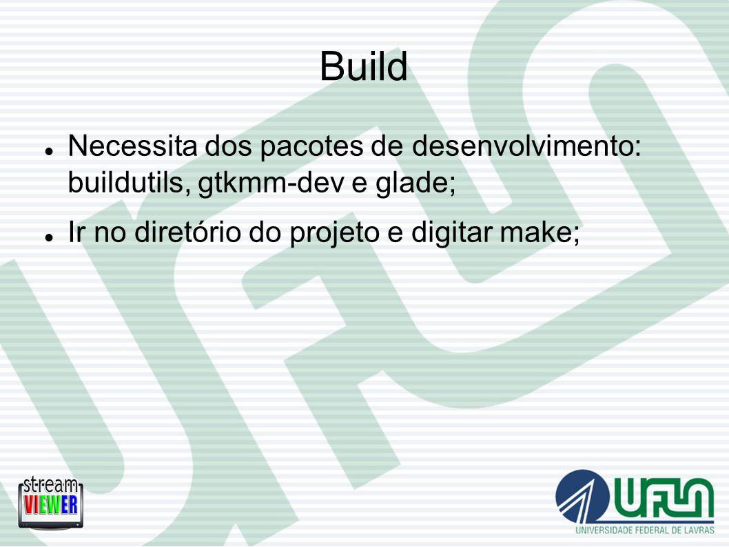 Build Necessita dos pacotes de desenvolvimento: buildutils, gtkmm-dev e glade; Ir no diretório do projeto e digitar make;