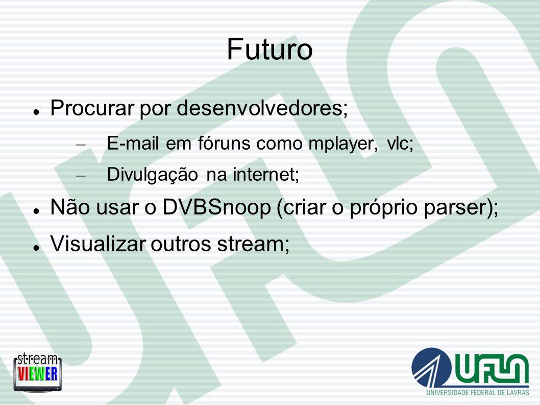 Futuro Procurar por desenvolvedores; – E-mail em fóruns como mplayer, vlc; – Divulgação na internet; Não usar o DVBSnoop (criar o próprio parser); Vis