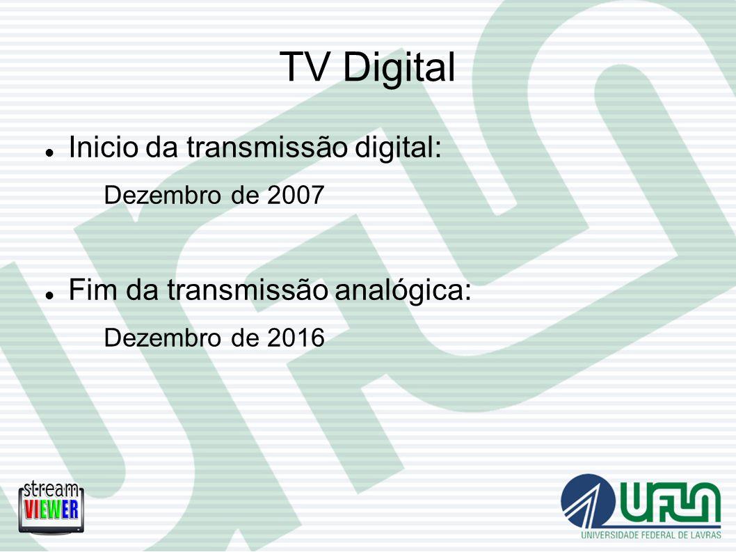 TV Digital Inicio da transmissão digital: Dezembro de 2007 Fim da transmissão analógica: Dezembro de 2016