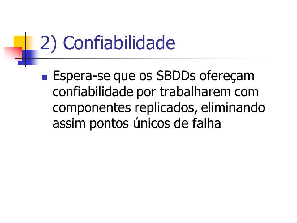 2) Confiabilidade Espera-se que os SBDDs ofereçam confiabilidade por trabalharem com componentes replicados, eliminando assim pontos únicos de falha