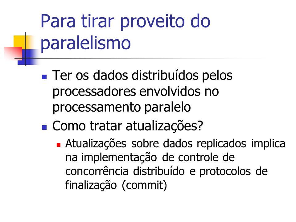 Para tirar proveito do paralelismo Ter os dados distribuídos pelos processadores envolvidos no processamento paralelo Como tratar atualizações? Atuali