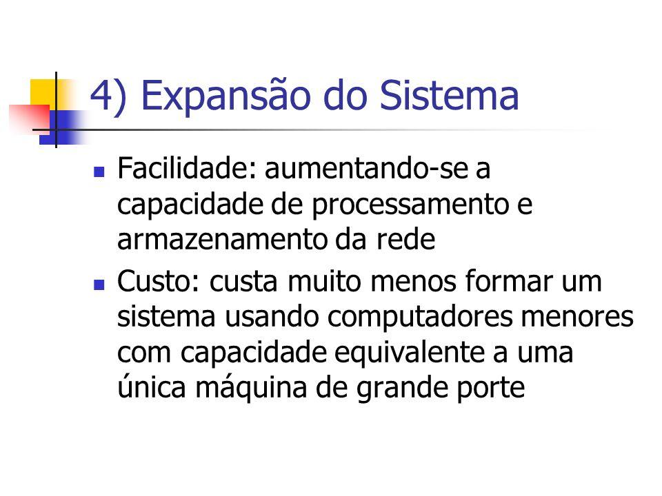 4) Expansão do Sistema Facilidade: aumentando-se a capacidade de processamento e armazenamento da rede Custo: custa muito menos formar um sistema usan