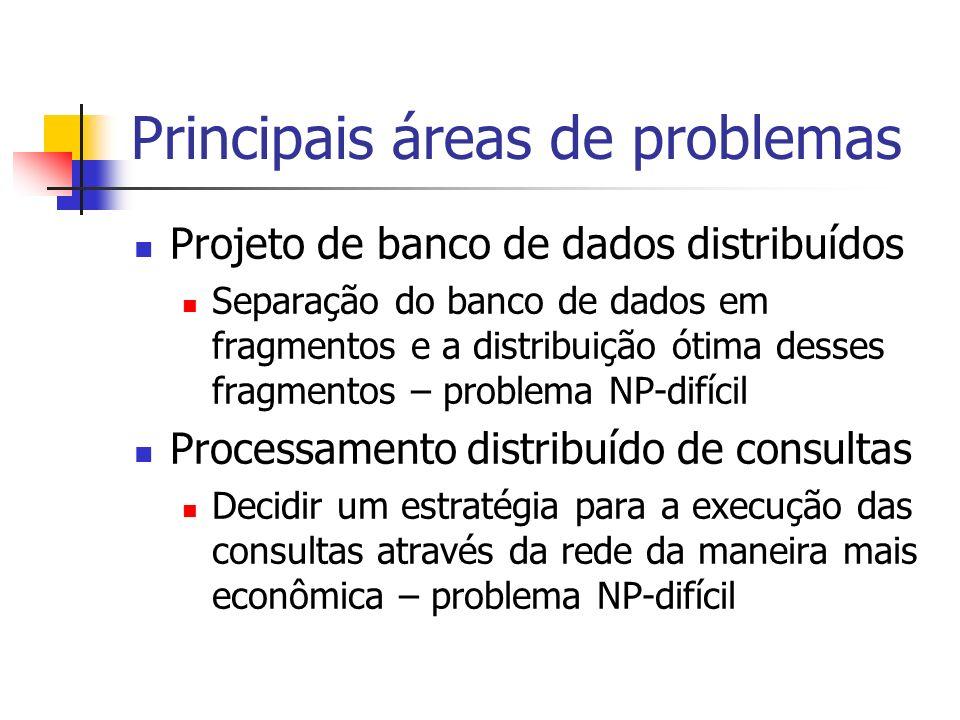 Principais áreas de problemas Projeto de banco de dados distribuídos Separação do banco de dados em fragmentos e a distribuição ótima desses fragmento