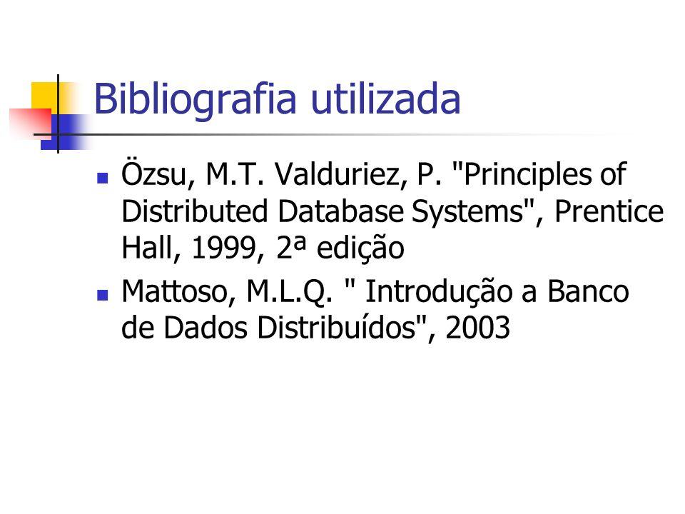 Bibliografia utilizada Özsu, M.T. Valduriez, P.