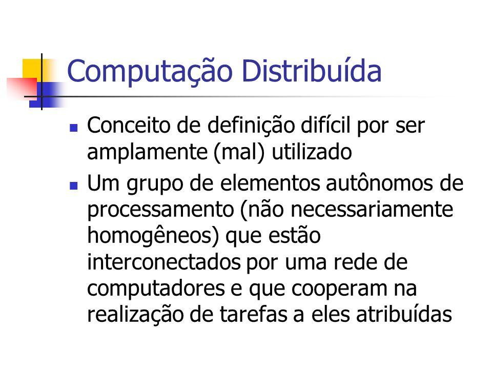 Computação Distribuída Conceito de definição difícil por ser amplamente (mal) utilizado Um grupo de elementos autônomos de processamento (não necessar