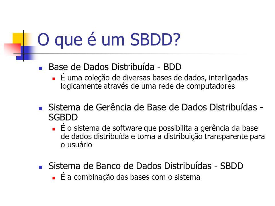 O que é um SBDD? Base de Dados Distribuída - BDD É uma coleção de diversas bases de dados, interligadas logicamente através de uma rede de computadore