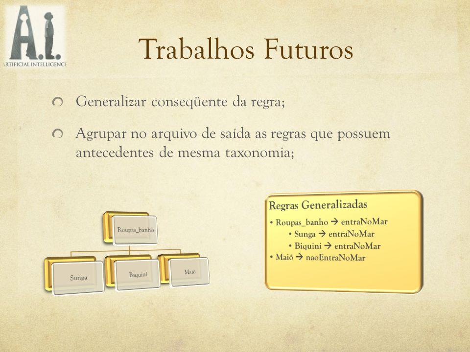 Trabalhos Futuros Generalizar conseqüente da regra; Agrupar no arquivo de saída as regras que possuem antecedentes de mesma taxonomia;
